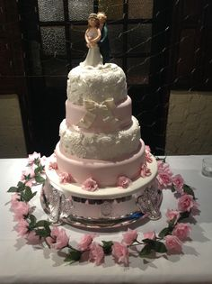 Lace Wedding cake with handmade bride & groom