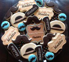1 Dozen Mustache little Man Birthday Cookies Galletas Cookies, Easter Cookies, Birthday Cookies, Cupcake Cookies, Sugar Cookies, Cookie Icing, Cookie Cutters, Cupcakes, Little Man Shower