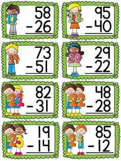 Subtracting 2 digit numbers centers and activities for first grade 1st Grade Math Games, First Grade Curriculum, First Grade Classroom, First Grade Math, Second Grade, Math Subtraction, Addition And Subtraction, English Grammar For Kids, Number Sense Activities