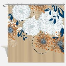 Pretty Asian-Inspired Mums 05 Shower Curtain for Zen Bathroom, Bathrooms, Bathroom Pictures, Pretty Asian, Fabric Shower Curtains, Damask, Christmas Decorations, Inspired