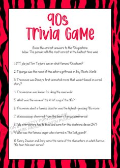 90s Trivia Game Printable, Girls Night Game, Virtual Party Game | by Pretty Printables Ink on Etsy. This 90s trivia game is the perfect idea for a girls night in, birthday party, virtual party, bridal shower or bachelorette party! Have fun taking a trip down memory lane to the 90s. Instant download! #90strivia #90sgame #girlsnightideas #girlsnightgame #90spartyideas #virtualpartygame #bachelorettepartygame #bridalshowergame #gamesnightideas