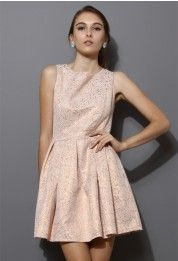 rose embossed sleevless dress