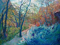 Modern expressionist landscape painting by Erin Hanson
