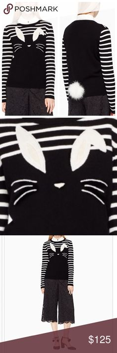Kate Spade Bunny Sweater! Striped sweater with tail in back! Bunny on front with white and a black base and pale pink accents in ears and nose! Rare and adorable! Sizes completely sold out and on sale online for $188 in XL only. Seriously amazing! A collector piece! Premiered at the NY flagship store! Brand new with tags and Bag! No holds or trades! I only sell through Posh :) I will add more photos soon kate spade Sweaters
