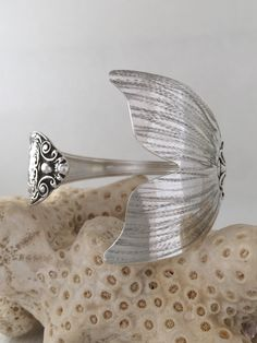 MARCH SALE Extra Large Sterling Silver Mermaid Tail Spoon Bracelet - $209.99 USD