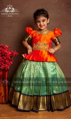 kanchivaram pavada indian lenghas for kids are never out of Trend silk store Girls Frock Design, Kids Frocks Design, Baby Frocks Designs, Baby Dress Design, Kids Lehanga Design, Baby Lehenga, Kids Lehenga Choli, Silk Lehenga, Kids Saree