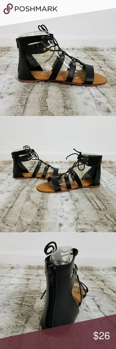 NWT.  Black Gladiator  Sandals. Lace up Sandals NWT.  Black Gladiator  Sandals.  Black Lace up Sandals. Clouse up Zipper on Back Comes in Original Box Bundle for Discount. Sorry, no Trades. Shoes Sandals