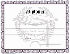 A distinctive printable diploma with a grey border and a graduation cap (mortarboard). Free to download and print