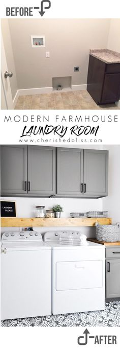 Do laundry in style in this Modern Farmhouse Laundry Room. Come see the transformation from builder grade to gorgeous on a low budget!