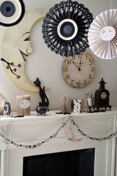 Simple black and white Halloween decor  - with a great crescent moon stealing the show!
