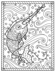 Narwhal Christmas Coloring pages Adult coloring books, digi stamp. Free Christmas Coloring Pages, Christmas Coloring Sheets, Free Adult Coloring Pages, Cute Coloring Pages, Printable Coloring Pages, Free Coloring, Coloring Books, Mermaid Coloring Pages, Christmas Colors
