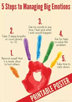 5 Steps to Managing Big Emotions Free Printable Poster from Childhood 101