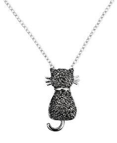 Victoria Townsend Sterling Silver Black Diamond Cat Pendant