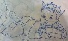 Sketchbook Drawings, Art Drawings, Fabric Painting, Painting & Drawing, Ganesha Drawing, Baby Embroidery, Baby Drawing, Baby Mine, Doll Eyes