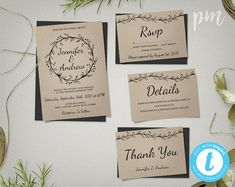 Rustic Wedding Invitation Template Suite with by PrintableMoment