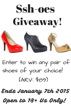 Ssh-oes Giveaway! http://www.glamourgirlreviews.com/2014/12/ssh-oes-quiet-comfortable-heels-review.html