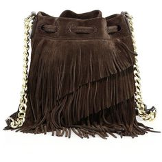 Elizabeth and James Fringed Suede Bucket Bag (6,060 MXN) ❤ liked on Polyvore featuring bags, handbags, shoulder bags, apparel & accessories, bucket bags handbags, bucket bag purse, suede fringe handbag, suede fringe purse and brown suede handbag