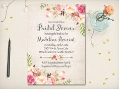 Boho Floral Bridal Shower Invitation by VintageBellsAndCo on Etsy