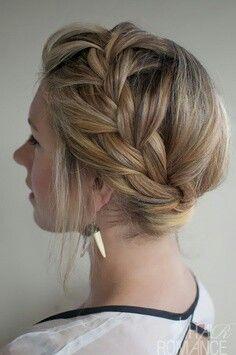 Braid updo. I think would be super cute with some curls falling in the front.