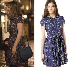 About Time movie: Mary's (Rachel McAdams) Henry Holland for Debenhams Navy Eiffel Tower and Poodle Print Dress #abouttimemovie #abouttime #getthelook