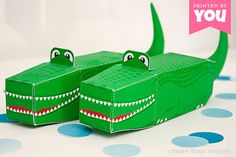 Alligator Favor Box : DIY Printable Crocodile PDF - Instant Download // Peter Pan, Florida Gators and Reptile Birthday Party Gift Boxes