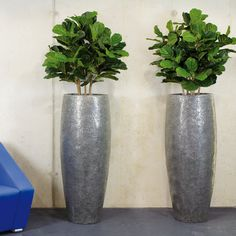 Crackle Grey Large Round Tall Polystone Planter D38 H70 cm