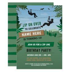 Zipline Invitation Custom Printable Teen Girl Birthday Party