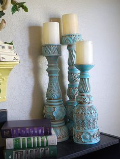 These candlesticks were a pain light wood. I loved the detail of the candlesticks so I used Rub n' Buff in Patina and I love this stuff. Rub N Buff, Chandeliers, Painted Furniture, Diy Furniture, Do It Yourself Home, Decoration, Home Projects, Picture Frames, Diy Home Decor