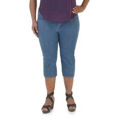 Riders by Lee Women's Plus-Size Comfort No Gap Waistband Denim (Blue) Capri, Size: 24WM