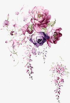 Fleurs d'encre aquarelle, L'encre Aquarelle, Fleur, Art PNG et PSD