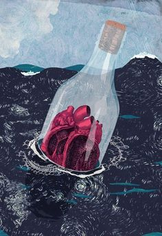 message in a bottle -cc Illustration by Emma Hanquist. Art Fauvisme, Photocollage, Anatomical Heart, Heart Art, Art Inspo, Pop Art, Art Drawings, Art Photography, Street Art