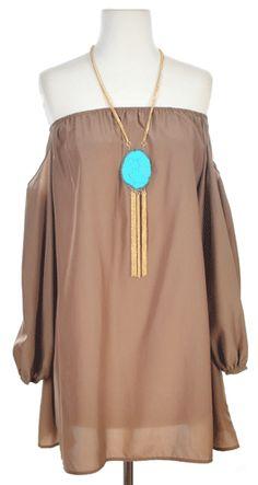 Sway this Way Dress in Tan - Dresses