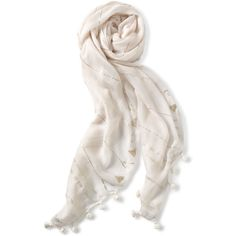 Stella & Dot Westwood Tassel Scarf - Winter White/Metallic ($59) ❤ liked on Polyvore featuring accessories, scarves, ivory shawl, stella & dot, lightweight scarves, tassel scarves and wrap shawl