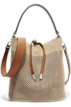 Michael Kors Collection | Miranda medium perforated suede and leather shoulder bag | NET-A-PORTER.COM  Diese und weitere Taschen auf www.designertaschen-shops.de entdecken
