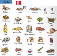 Food words in Norwegian Norway Language, Sweden Language, Learn Finnish, Norwegian Words, Norway Viking, Norway Fjords, Beautiful Norway, Norway Travel, Language Lessons