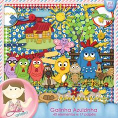 Kit Digital Galinha Azulzinha by Lu Ifanger