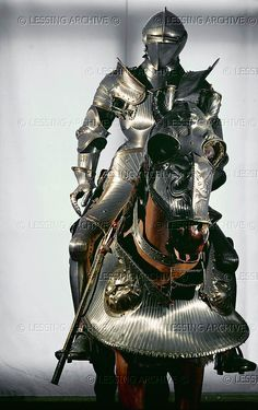 Cuirass and horse armour (ca. which belonged to Ferdinand I, the grandson of Empreror Maximilian. from Augsburg, Germany Helmet Armor, Suit Of Armor, Arm Armor, Armadura Medieval, Knight In Shining Armor, Knight Armor, Medieval Weapons, Medieval Knight, Renaissance