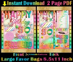 Large Printable Chip Bags 8x11 Inch | Candy Land Party Theme | Candyland Birthday | Rainbow Gold Printable Instant Download Favors Candy Buffet Bags, Thank You Printable, Brochure Paper, Potato Chip, Chip Bags, Candy Land, Custom Bags, Favor Bags, Party Themes
