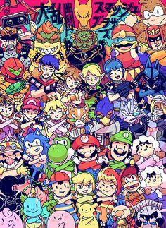 Um are all of the super smash bros contestants Nerdfighters because that would be amazing Super Smash Bros Brawl, Super Mario Bros, Retro Videos, Retro Video Games, Video Game Art, Nintendo Characters, Video Game Characters, Geeks, Creepypasta Anime