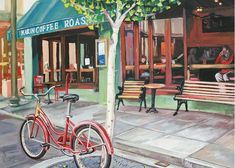 """Trademark Art """"Coffee Shop"""" by Colleen Proppe Painting Print on Canvas Size: Painting Frames, Painting Prints, Art Prints, Painting Wallpaper, Painting Tips, Oil Paintings, Artist Canvas, Canvas Art, Canvas Prints"""