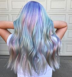 "Holographic hair, unicorn hair, mermaid hair, pastel hair 1,024 Likes, 75 Comments - Danielle Hess (@brushedtoblonde) on Instagram: "" . . . . I used Pulp Riot for this beautiful pastel oil slick in shades Powder, Seaglass, Blush…"""