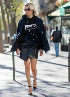 The ultimate edgy glam look - folded leather mini skirt, grunge sweatshirt, and pointed toe heels. street style 2016