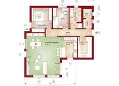 Grundriss Bungalow AMBIENCE 88 V4 Erdgeschoss Flachdach Haus Bien Zenker Fertighaus - Haus bauen Ideen HausbauDirekt.de Bungalows, House Plans, Floor Plans, House Design, How To Plan, Architecture, Costa Rica, Log Projects, Templates