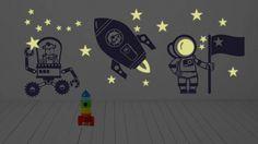 pokój dziecka - naklejki ścienne-Świecące naklejki ścienne, Kosmos, Rakieta