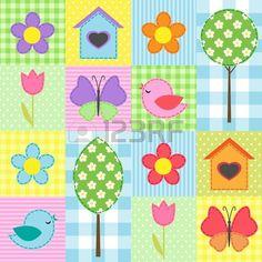 Fondo primavera con fiori, alberi e farfalle Archivio Fotografico