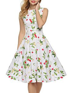 Women's+Going+out+Party+Holiday+Vintage+Street+chic+Swing+Dress,Floral+Round+Neck+Knee-length+Sleeveless+Cotton+Summer+High+Rise+Inelastic+–+AUD+$+32.70