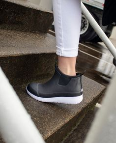 she is a sneak, and her game is sleek 🧐 #chookastyle find the lakemont sneaker at your favorite @dsw Rain Shoes, The Weather Man, Short Rain Boots, Boot Shop, Legs Open, Wedge Heels, Walking, Slip On