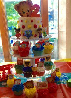 Daniel Tiger birthday cake and cupcakes.