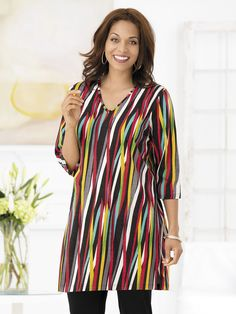 "Crayon Box Striped Knit Tunic | Plus Size Tunics 34"" Long 