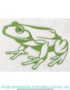 Stickmotiv Stickbild Aufnäher Stickerei Emblem Frosch  Frosch /  Stickerei Frog Silhouette (J9428)